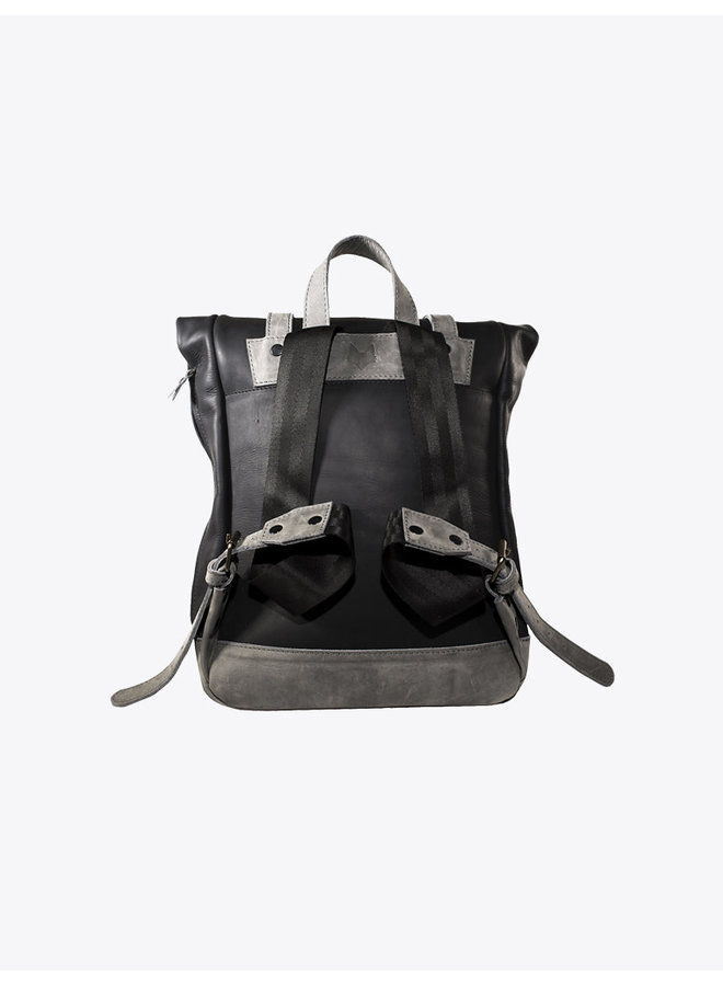 Leather Backpack in Gray & Black
