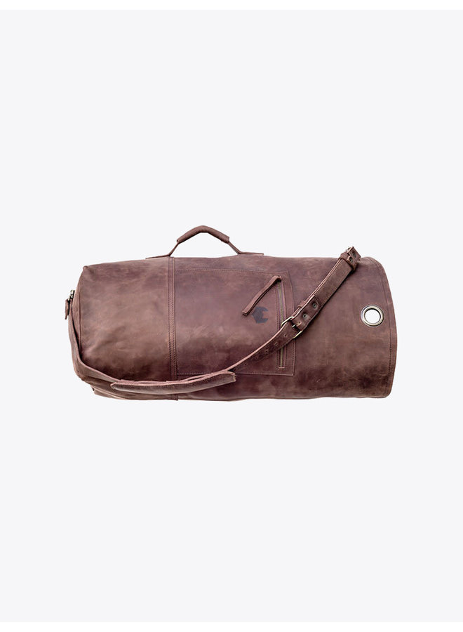 Leather Duffle Bag in Chocolate