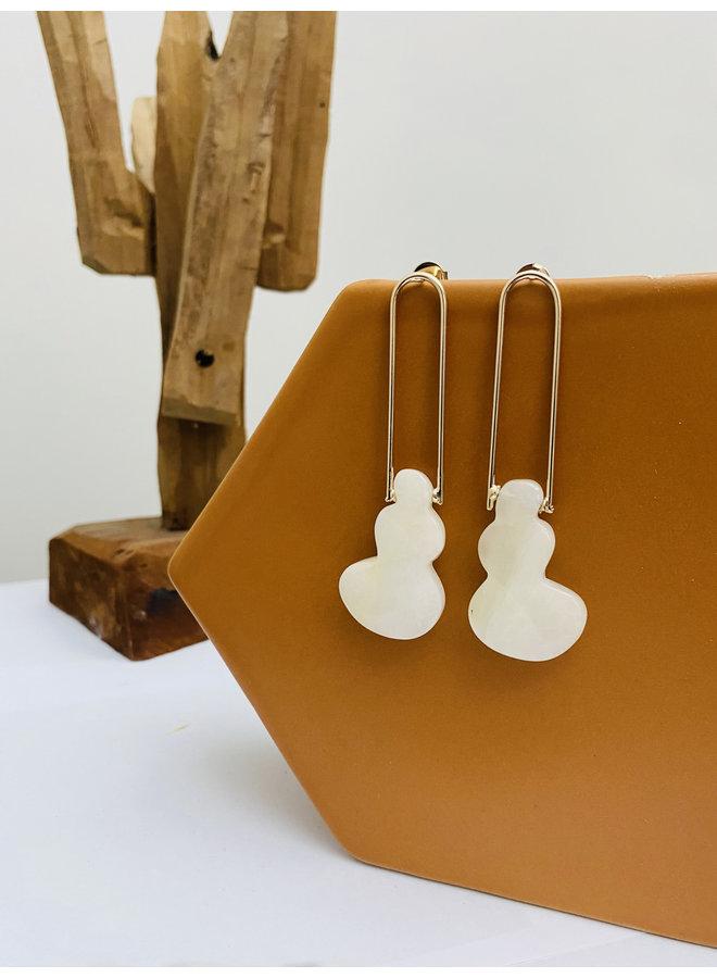 Long White Rock Earrings