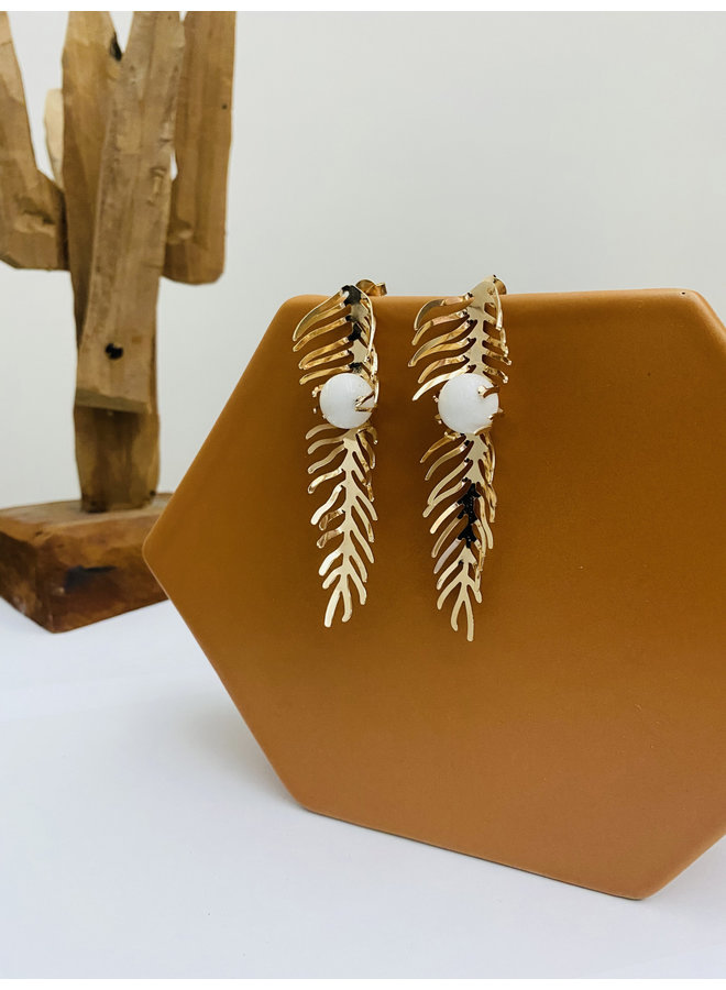 White  Leaves Earrings