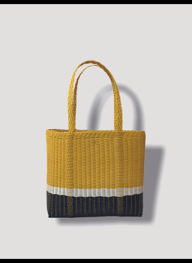 Square Tote Bag in Yellow & Black