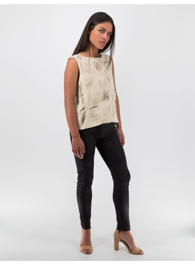 Cutout Leather Top in Beige