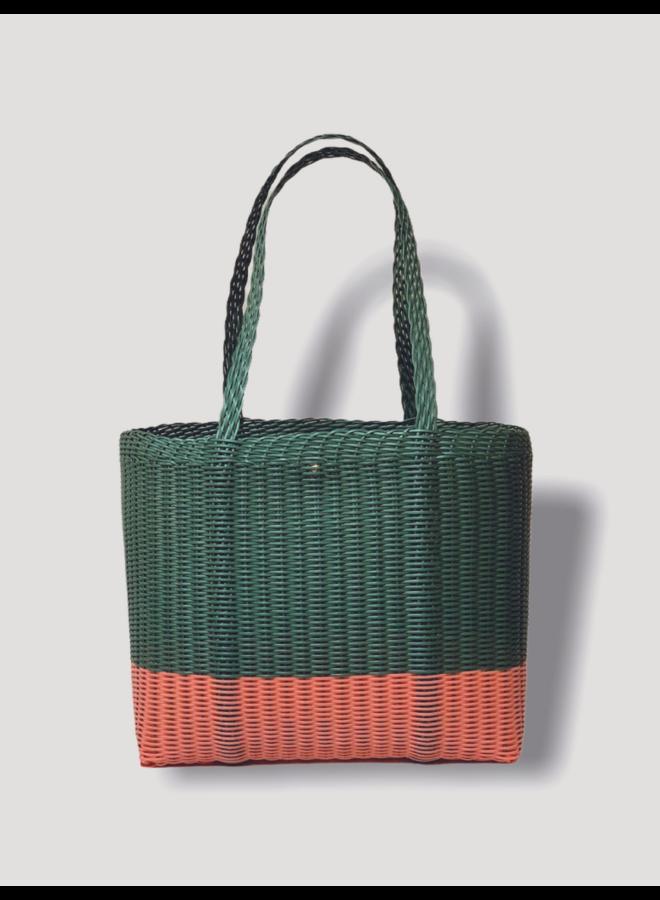 Square Tote Bag in Green & Salmon