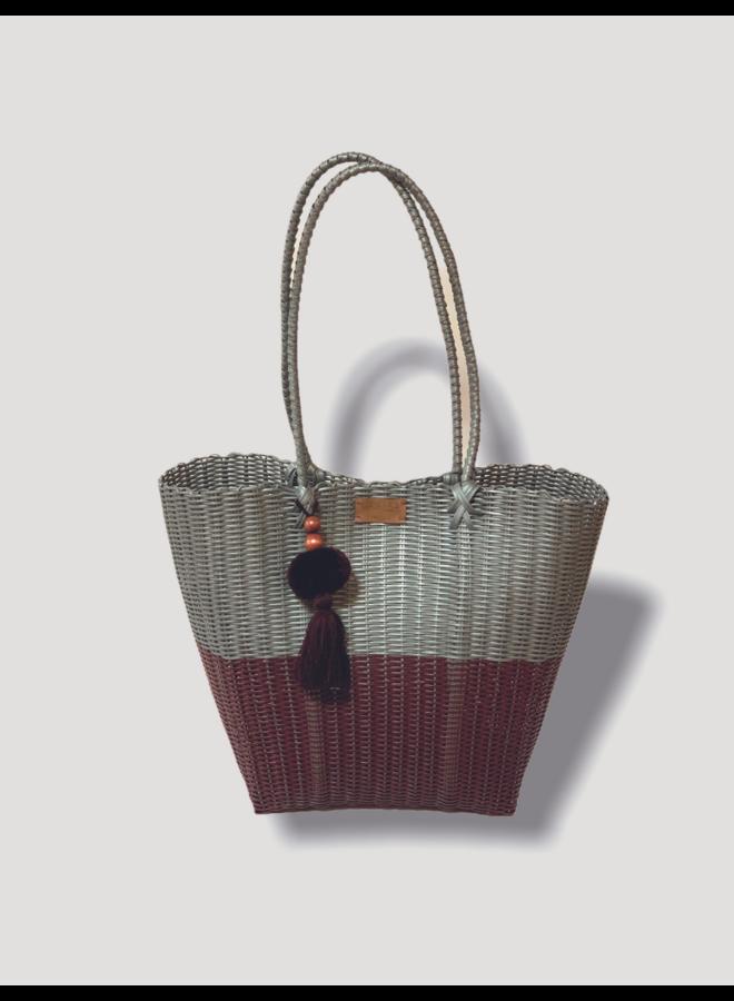 Diamond Basket Bag in Gray & Wine