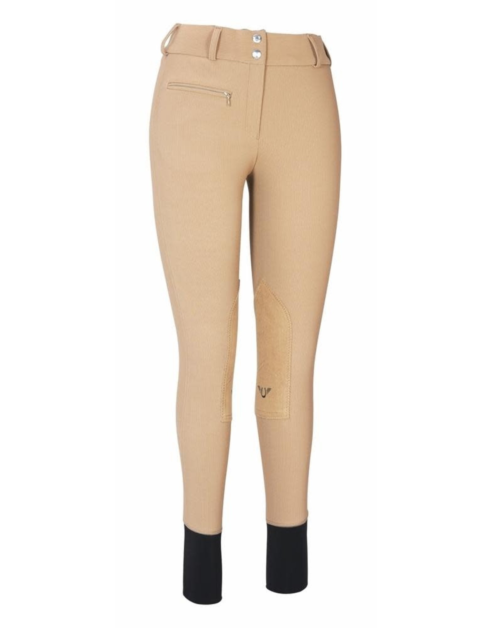 Tuffrider Ladies Ribb Lowrise Wide Waistband Knee Patch Breeches