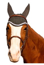 Equine Couture Fly Bonnet with Silver Rope & Crystals