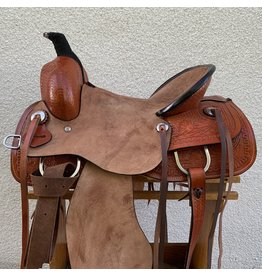 "Roping Saddle with Full Roughout 15.5"" Full Quarter horse Bars"