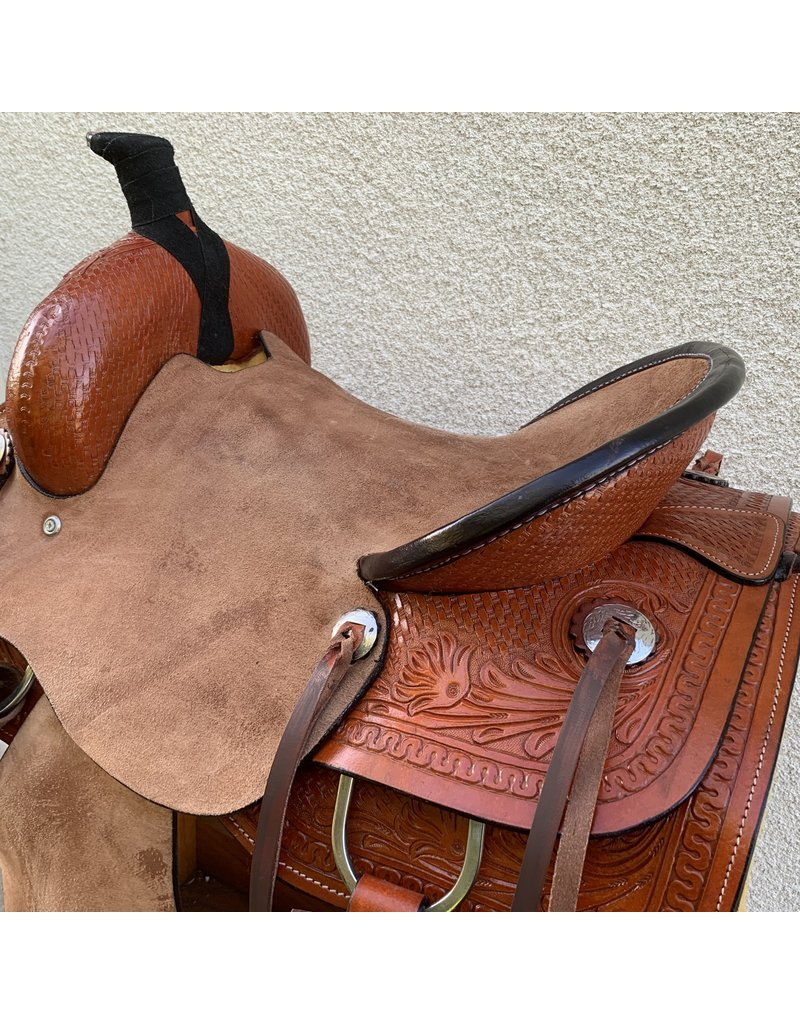 """Roping Saddle with Full Roughout 15.5"""" Full Quarter horse Bars"""