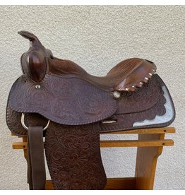 "Dark Oil Tooled Wesern Saddle 15.5"" Seat Semi-Quarter Horse Bars"