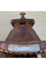 "Dark Oil Tooled Wesern Saddle 15.5"" Seat Semi-Quarter Horse Bars"