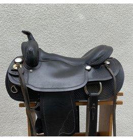 "National Bridle Saddle Black Gaited Tree 17"" Seat Wide"