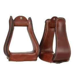 Tough One Stirrups Western Wide Leather Covered Dark Oil