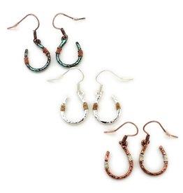 Earrings Wire Wrapped Horseshoe Copper