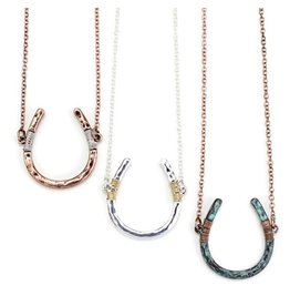 Necklace Wire Wrapped Horseshoe Copper