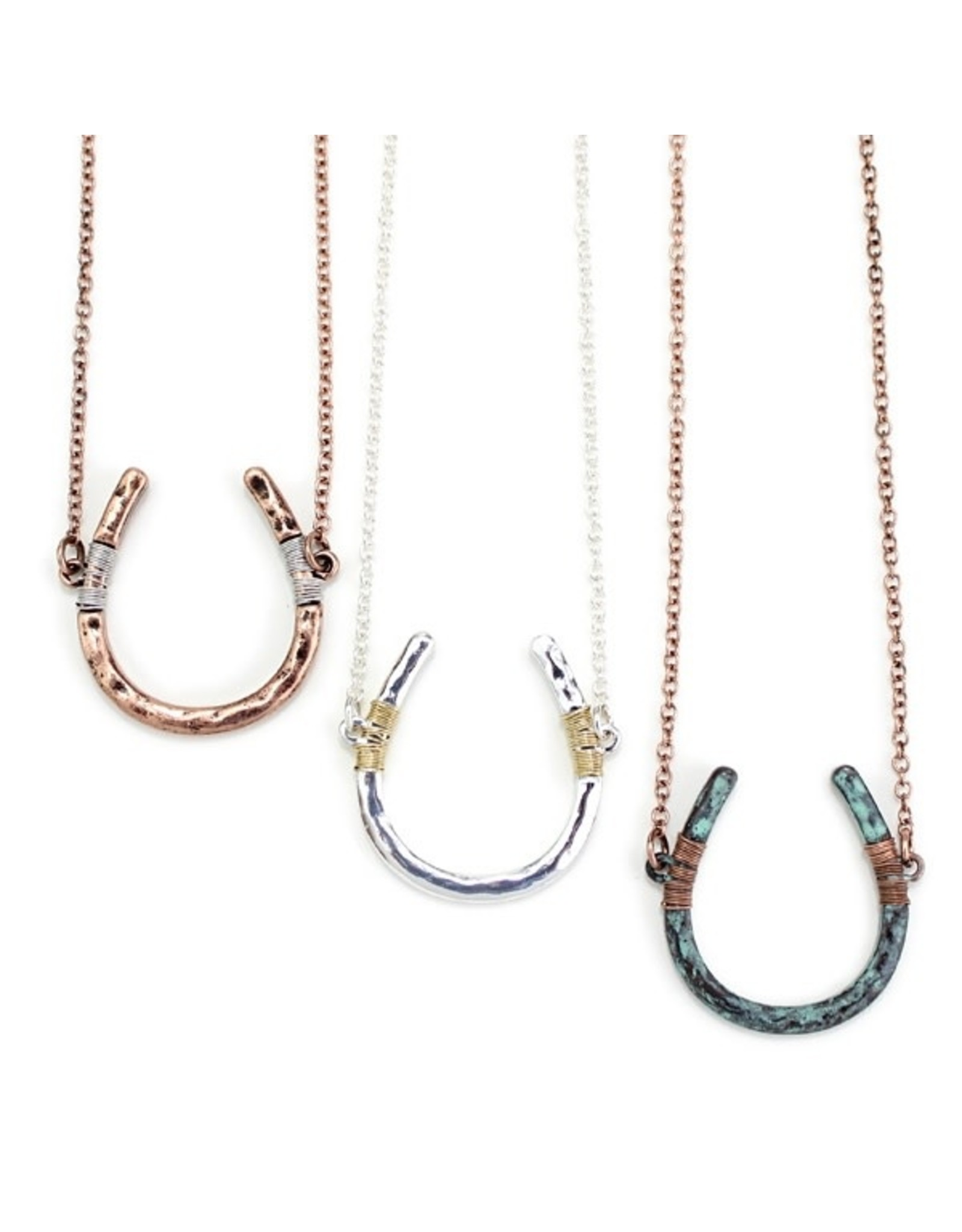 Necklace Wire Wrapped Horseshoe Patina