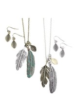 Earrings / Necklace Set Feather Cluster Two-Tone