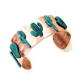 Bracelet Cactus Cuff Antique Copper