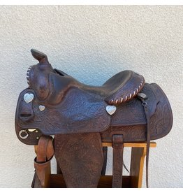 """Champion Equitation Saddle with Heart Conchos 16.5"""" 8"""" Wide Tree"""