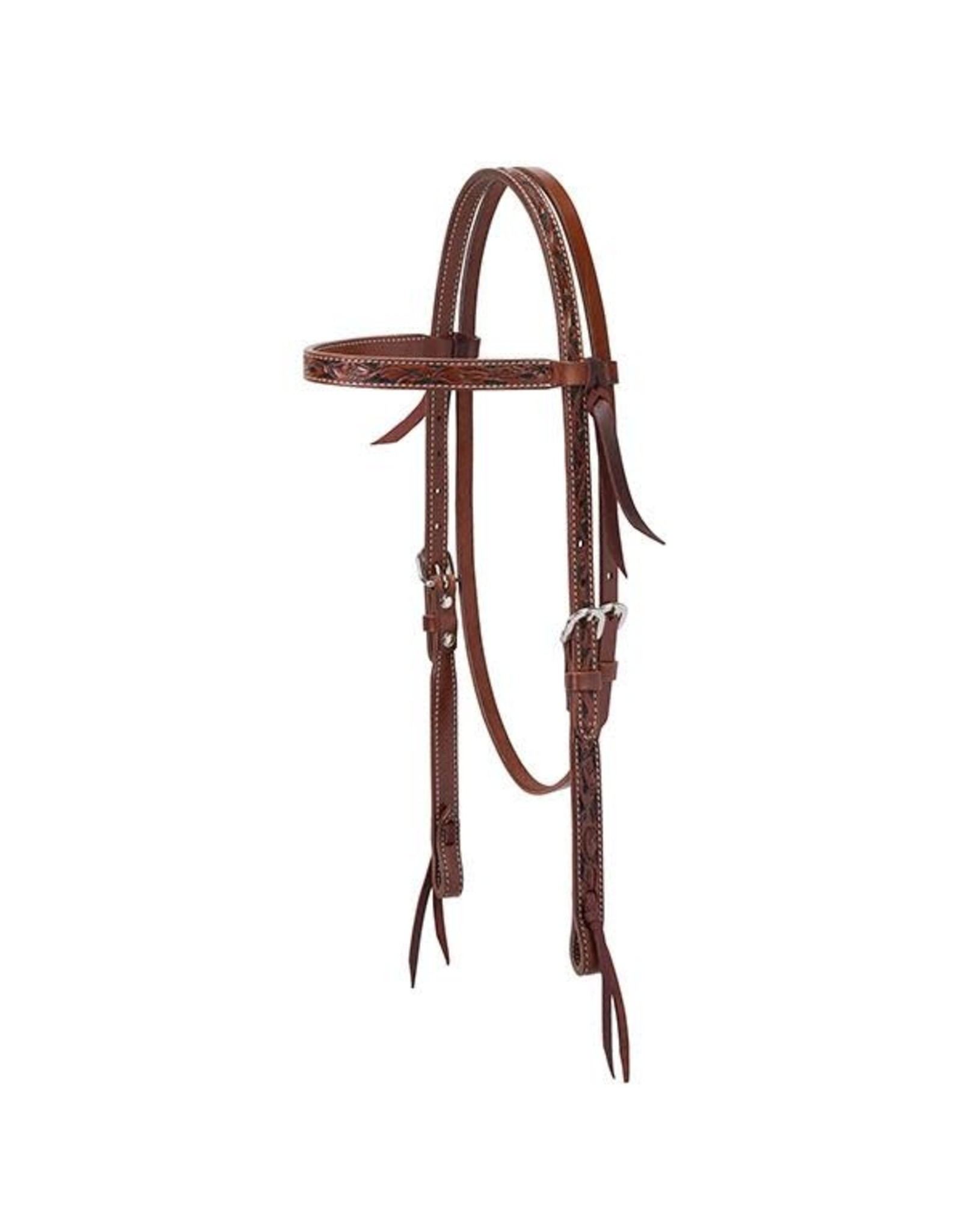 """Weaver Turquoise Cross Floral Carved 5/8"""" Browband Headstall"""