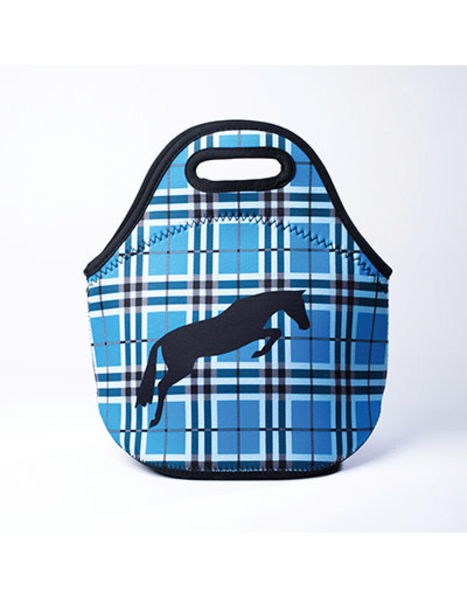 Lunch Tote, Neoprene Blue Plaid W/ Jumper Horse