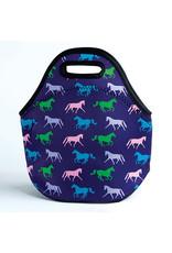 Lunch Tote, Neoprene Purple Horses
