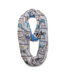Scarf Infinity Horses in Blankets Blue