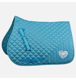 Horze Tucker Pony Saddle Pad Heart Blue