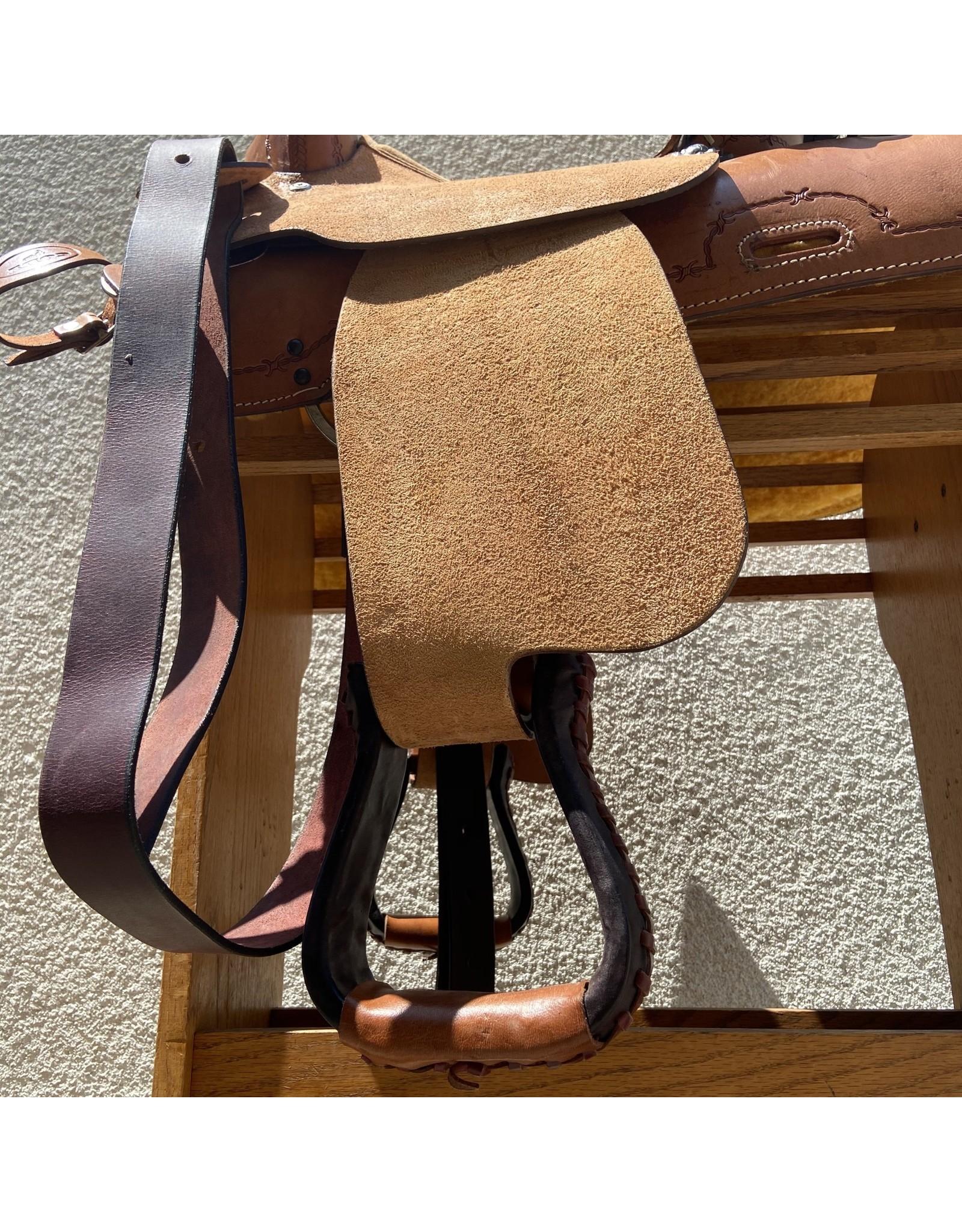 "NEW! Buffalo Cody Barrel Saddle, 14"" Tan Seat"