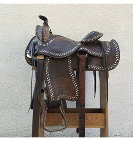 "Brown Western Saddle w/ buckstitch and triangle accents 15"" Seat QHB"