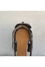"""Brown Western Saddle w/ buckstitch and triangle accents 15"""" Seat QHB"""