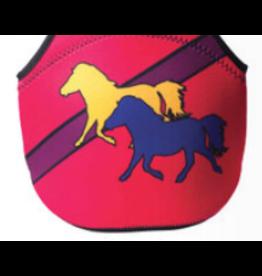Neoprene Lunch Tote, Pink Stripe w/ Ponies