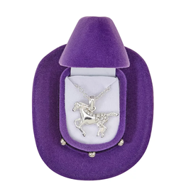 Necklace, Galloping Horse w/ Colorful Cowboy Hat Gift Box
