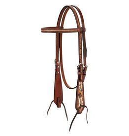 Weaver Turquoise Cross Coco Feather Headstall Browband