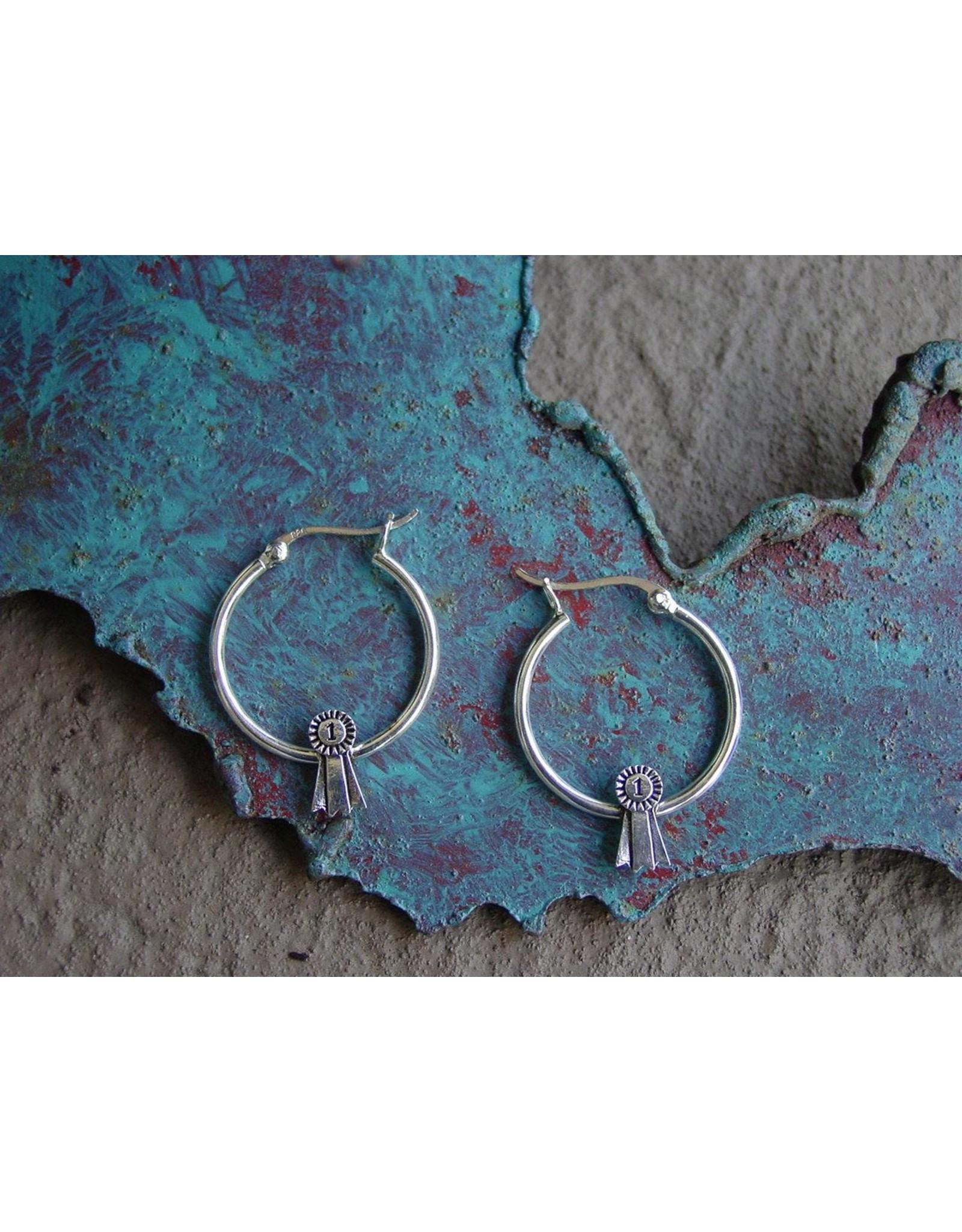 Baron Equestrian Earrings Sterling Ribbon Hoops E309