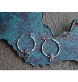 Baron Equestrian Earrings Sterling Ribbon Hoops E309