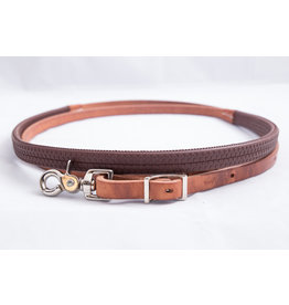 Roping rein harness leather brown rubber grip