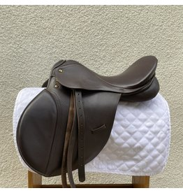 """Brown Leather All Purpose Saddle 16.5"""" Wide Tree w/ leathers"""