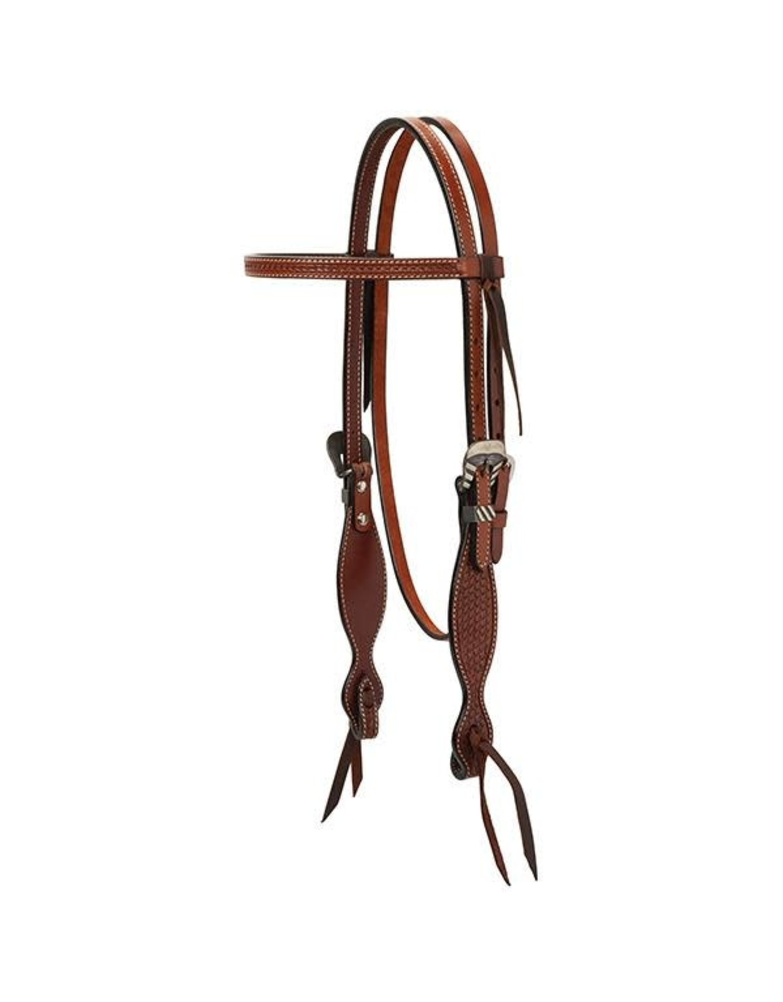 """Weaver Headstall Turquoise Cross Basketweave Tooled 5/8"""" Browband"""
