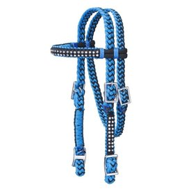 Headstall Mini Braided Cord with Crystal Turquoise/Black