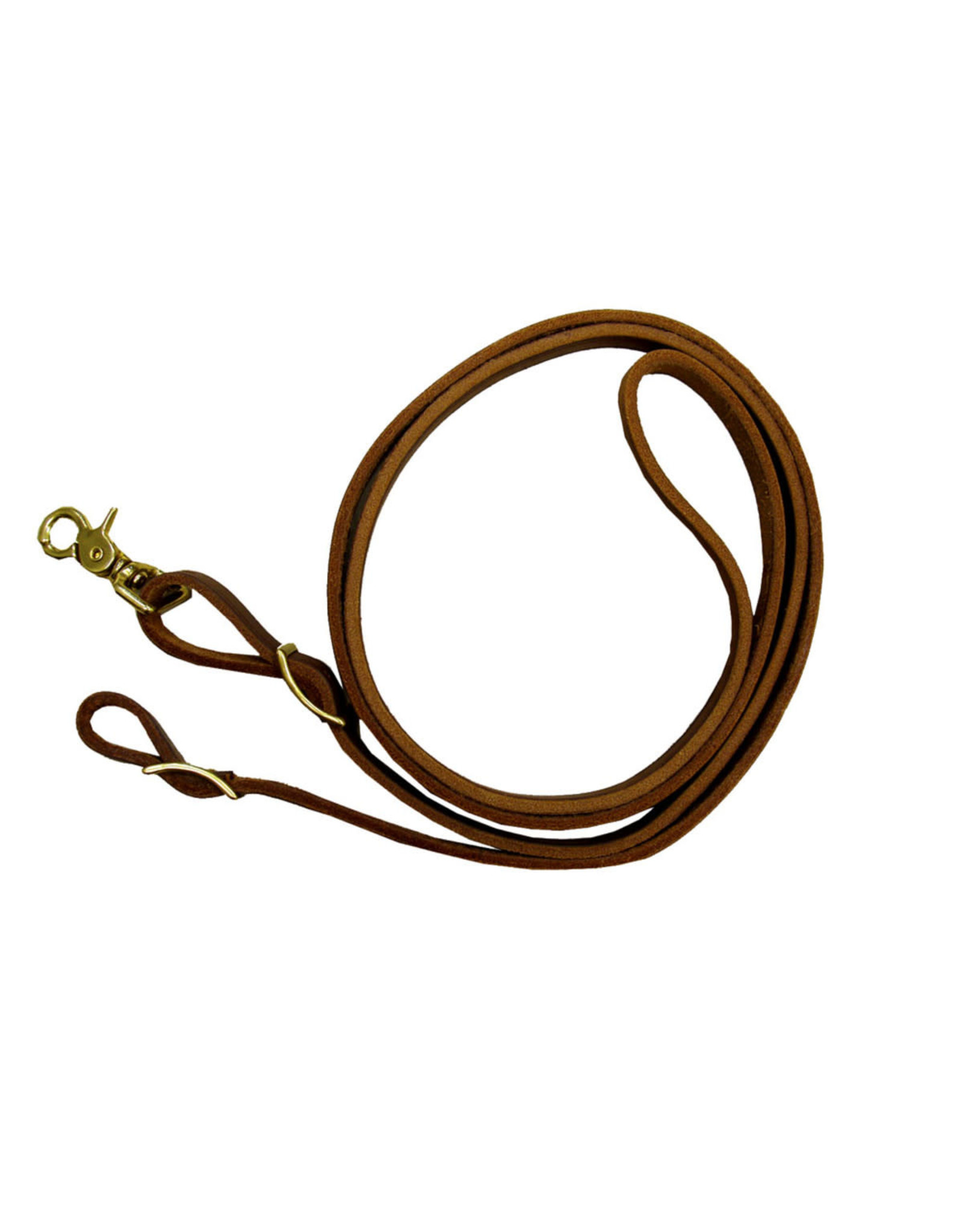 Reins, Roping INT Leather 8' Med Brown Brass