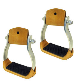 Stirrup Aluminum Western with Leather Band Rubber Tread