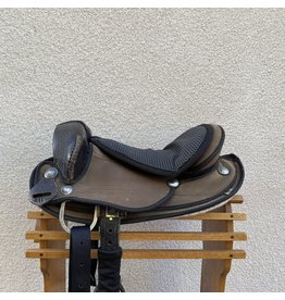 "Endurance Saddle w/ stirrups & leathers 16"" Seat Wide FQBH"