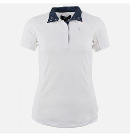 Horze Blaire Show Shirt Short Sleeve White w/ Navy Dot