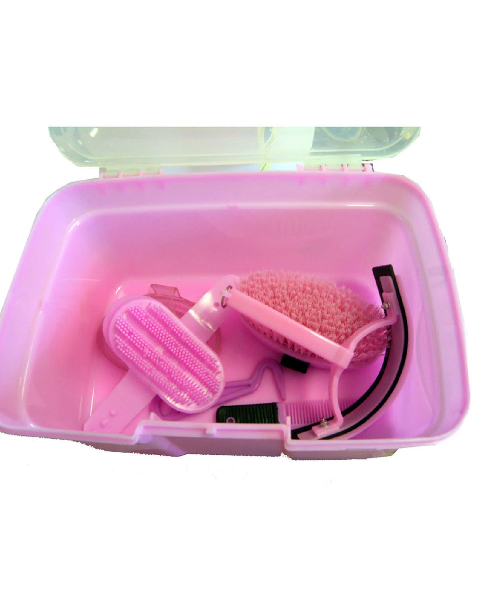 Grooming Tack Box with Tools Pink
