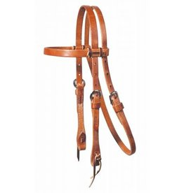 """Headstall Laced Browband Harness Leather 5/8"""" Pony"""
