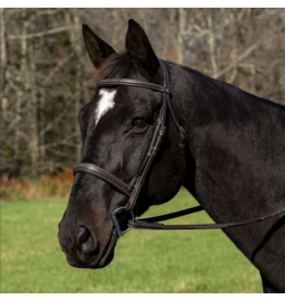 Pro Mono Crown Bridle with Padded Wide Noseband with Laced Reins Havana Full