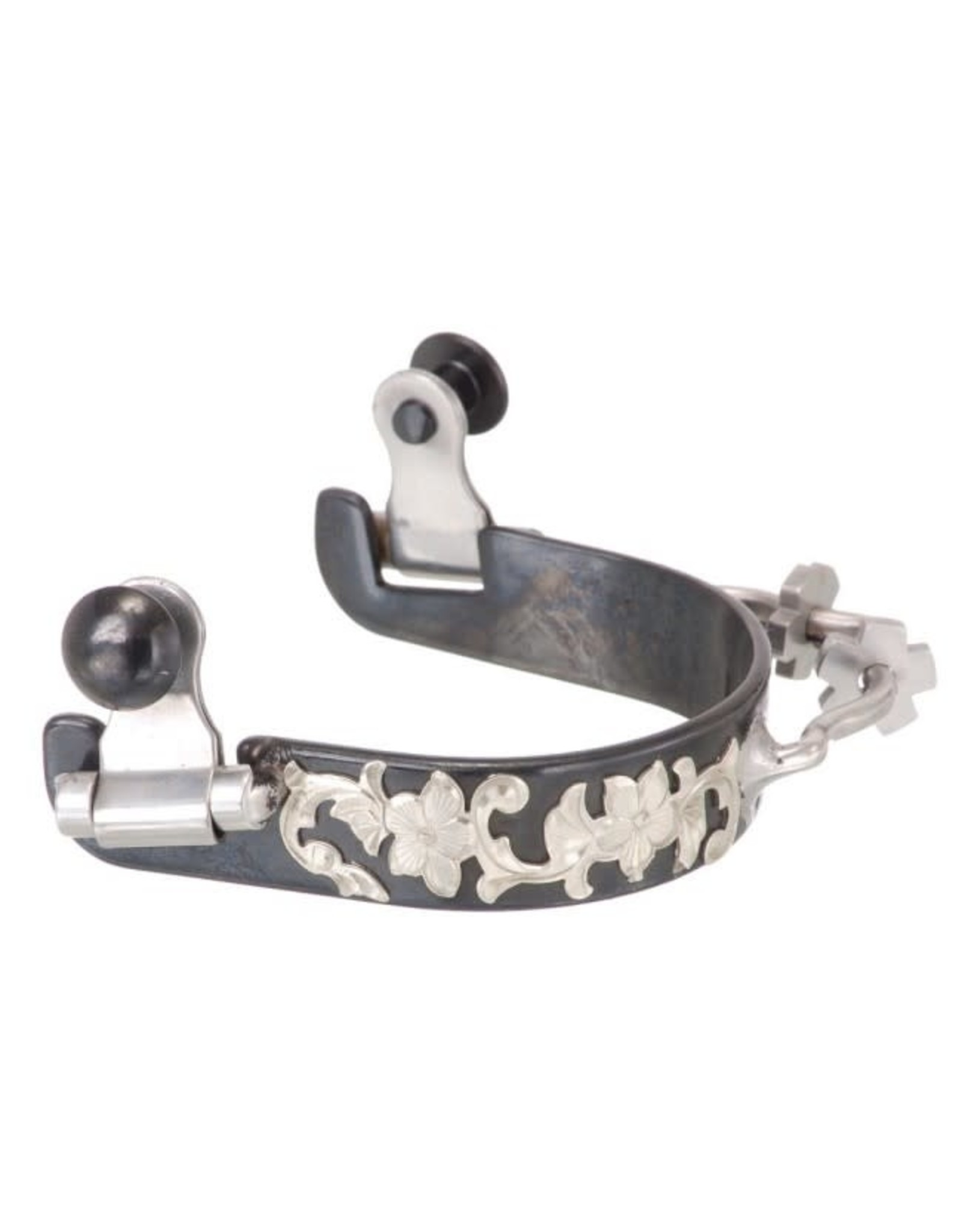 Tough 1 Spurs Black Steel Ladies Bumper with Engraved Floral Silver Overlay