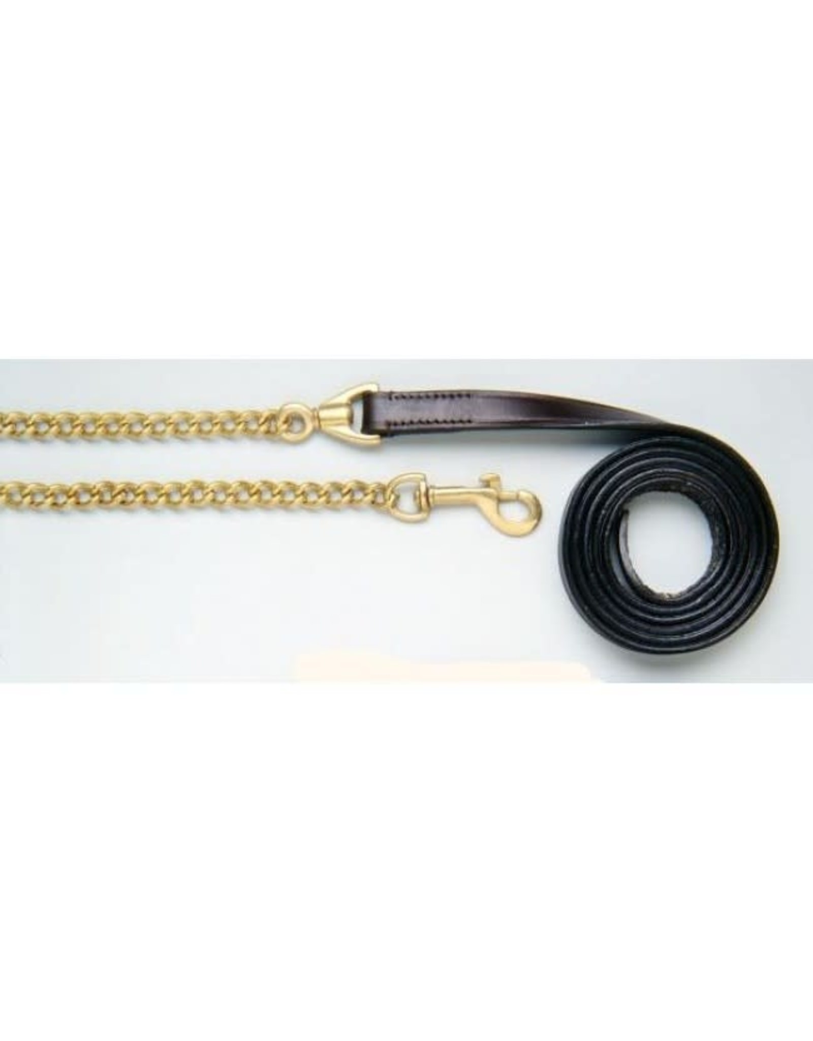"""Royal King Leather Lead with Chain Dark Oil 1"""" Brass"""
