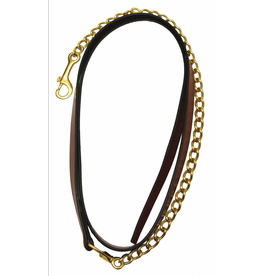 """Pro Collection Leather Lead with 24"""" Brass Chain Australian Nut"""