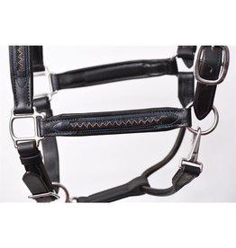 Perri's Halter Leather Black Padded Chevron Stainless Steel